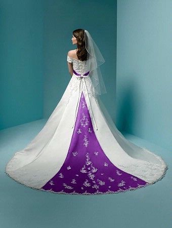 White wedding dress with a little purple