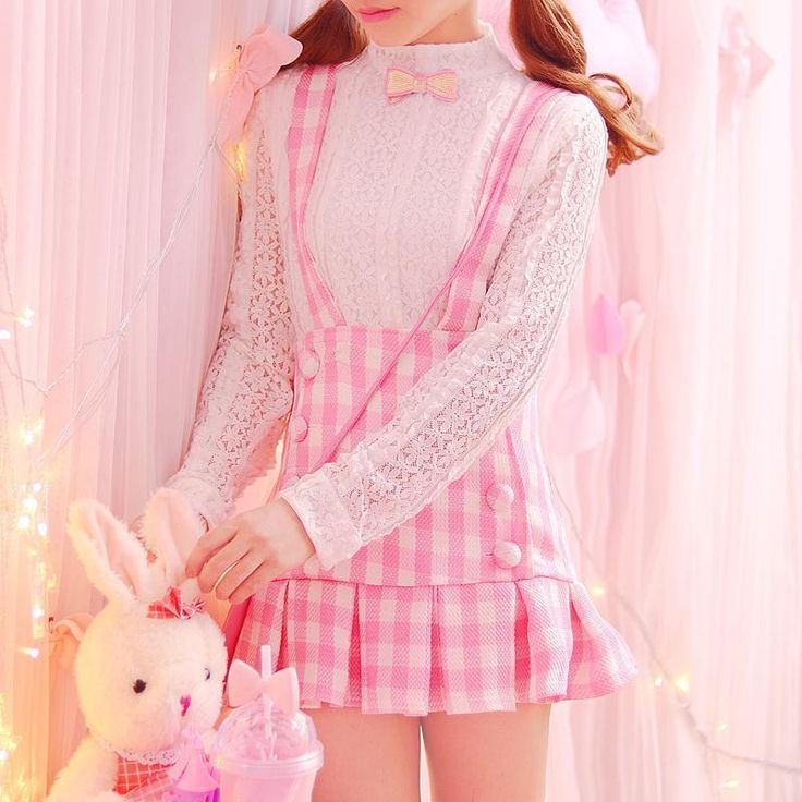 Japanese kawaii pink braces skirt+lace blouse two-piece YV16051
