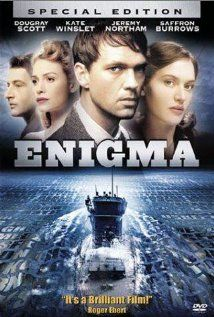 """""""Enigma"""" (dir. Michael Apted, 2001) --- During World War II, British cryptoanalysts discover that Nazi U-boats have changed their Enigma Code. They enlist the help of genius Tom Jericho (Dougray Scott) to help break the code again. A spy within the British code-breakers' ranks looms and Tom's love, Claire (Saffron Burrows), has disappeared. To solve the mysteries, Tom recruits Claire's best friend, Hester Wallace (Kate Winslet). Based on the novel by Robert Harris."""