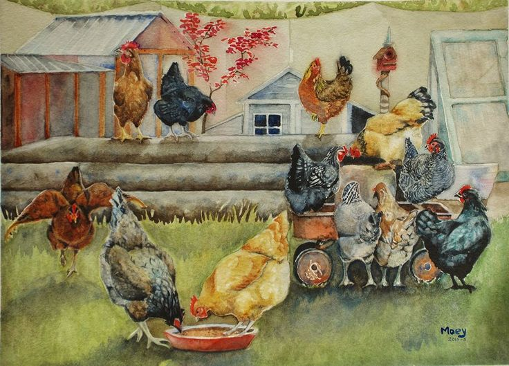 Queens of the Back Yard (No.5 2015) Watercolour on Paper, A3 By Moey