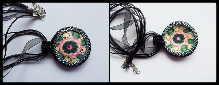 Peyote Beaded Pendant & Necklace. Double sided Pendant. Hand crafted by me , many hours of work. Quality Miyuki Beads. Polymer clay Pendant ( not made by me) $25 + postage (AU)