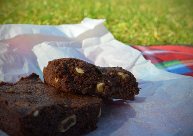 Orange scented chocolate brownies with hazelnuts