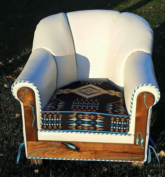 Custom designed leather chair with Pendleton seat and turquoise inlaid mesquite kick plate and arms. The customer worked with RusticArtistry.com to have this chair designed and built for her guest house in Texas.