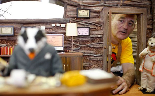 Bill Murray on the set of Wes Anderson's Fantastic Mr. Fox.