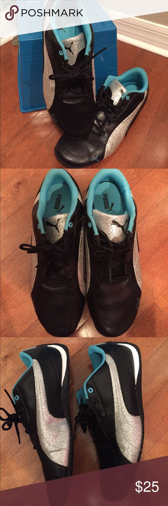 Women's Puma Tennis Shoes Black, Turquoise and Glittery Silver Sporty Pumas. Women's size 6.5. Worn a few times but in super condition. I'm more of an Adidas Girl unfortunately☺️so hopefully someone will L💙VE these pretty lil pumas! Very cute, smoke free home 🏡 Puma Shoes Sneakers