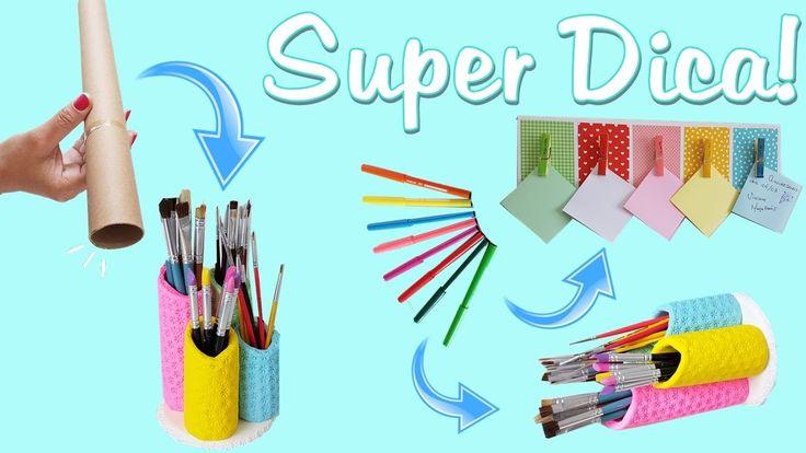 Ideia com Rolinho de Papel   Painel para Organização Escolar ou Dia a Dia