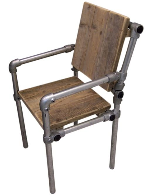 Chair With Wooden Seat And Scaffolding Frame Scaffold Tube