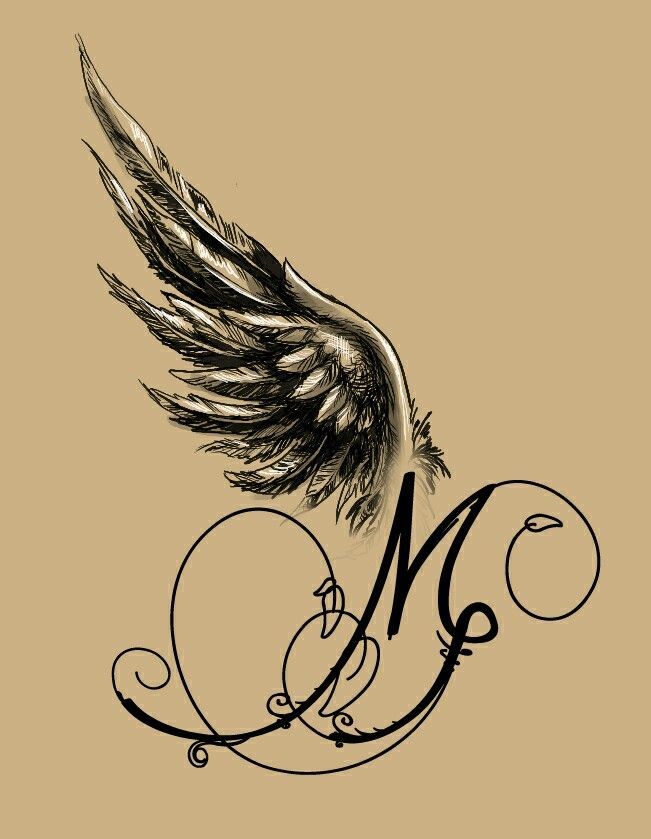 angel winged m tattoo design my tattoo designs pinterest tatuering och rita. Black Bedroom Furniture Sets. Home Design Ideas