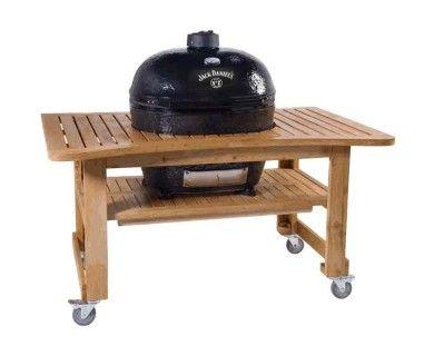 Primo Oval 400 XL Ceramic Smoker Grill On Teak Table - Jack Daniel's Edition
