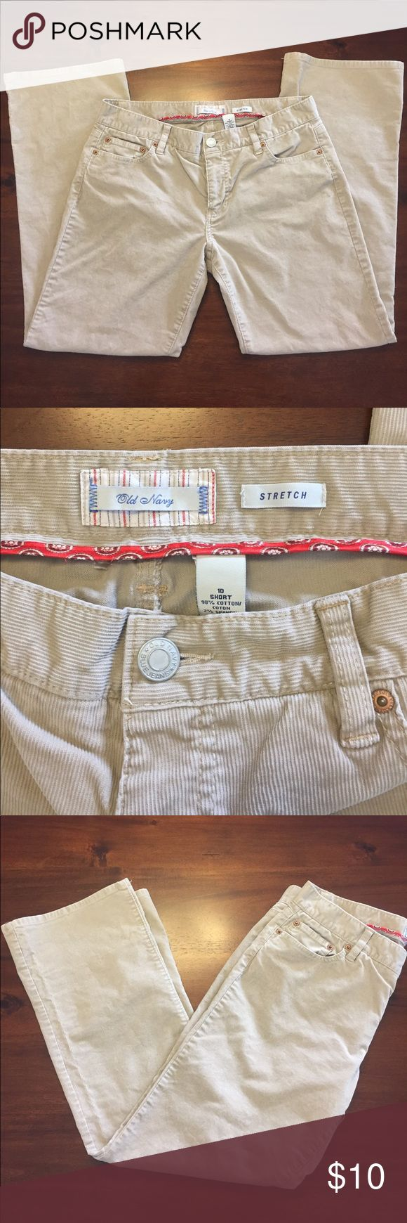Old Navy 10 short corduroy pants Old Navy size 10S / 10 short stretch corduroy pants in tan color. Pants feature lower rise and boot cut / flare leg. Very cute and flattering fit! Worn just a few times and in great condition. From smoke free home. Take a look at my other items for sale and bundle to save! Pants Boot Cut & Flare