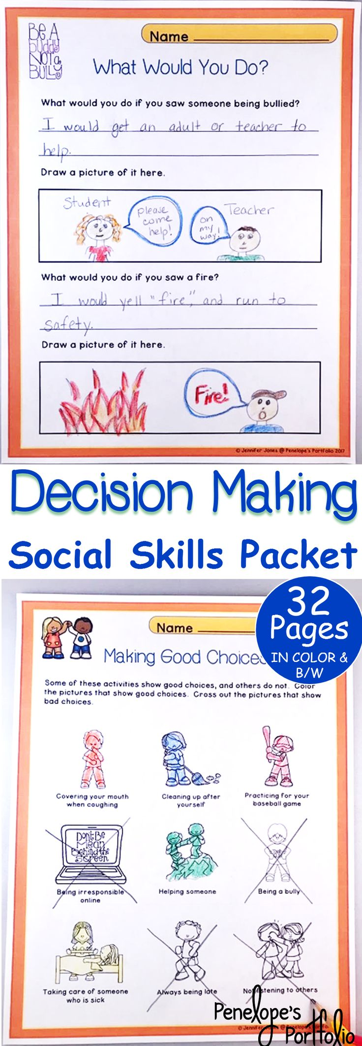 Decision making is a very important life skill. This Character Education - Social Skills Packet is filled with lessons focusing on decision making skills, and is great for classroom management.  Teachers, School Counselors, Social Workers, Special Education Teachers, Speech Therapists, Homeschooling Parents, and other Specialists may benefit from this resource.  https://www.teacherspayteachers.com/Product/Decisiveness-3178827