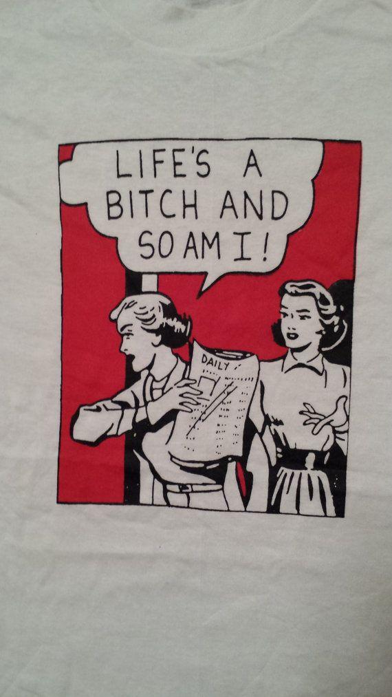 Unworn 1980s Vintage LIFE'S a BITCH retro feminist tshirt nos Screen Stars Roy feminism LICHTENSTEIN Pettibon Nas Illmatic '80s tee shirt
