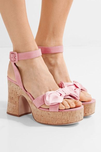 Cork heel measures approximately 100mm/ 4 inches with a 30mm/ 1 inch platform  Baby-pink suede Buckle-fastening ankle strap Made in Italy