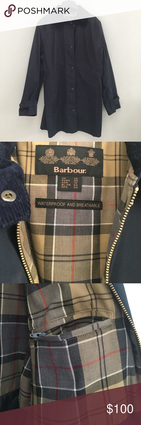 NWOT Barbour Rain Coat Never worn.  Navy Barbour raincoat.  Corduroy collar, inside zip pocket, 2 front pockets, front zip and overlapping snaps.  US Size 10 but plenty roomy for sweater underneath.   32-inches long ( from shoulder).  22-inches armpit to armpit. Barbour Jackets & Coats Utility Jackets