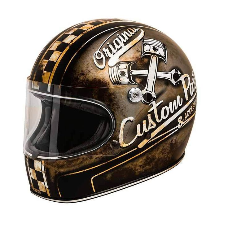 "PREMIER Trophy ""OP 9 BM"" full face retro motorcycle helmet with used look and rust textures. Comes with ECE safety standard."