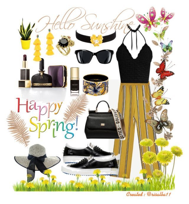 Hello Sunshine by risalba on Polyvore featuring RED Valentino, Fendi, Dolce&Gabbana, Hermès, Les Néréides, Mochi, Kenneth Jay Lane, Tom Ford and Home Decorators Collection