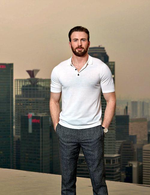 Chris Evans promoting Captain America: Civil War in Singapore on April 21, 2016.