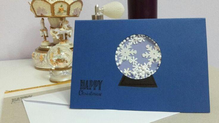 DIY Snowglobe shaker christmas card #handmade #christmas_card