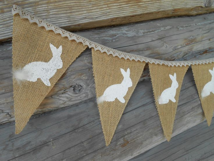 Easter Bunting Easter Bunny Banner Easter Garland Easter Burlap Banner Rabbits Banner Easter Decor Burlap Bunting Rustic Easter by ViViCreative on Etsy https://www.etsy.com/listing/203340240/easter-bunting-easter-bunny-banner