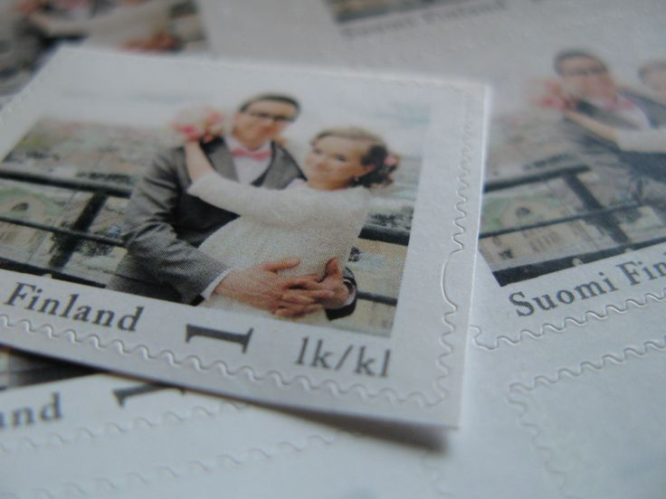 Personalized stamp for thank you cards. Postimerkit omalla kuvalla.