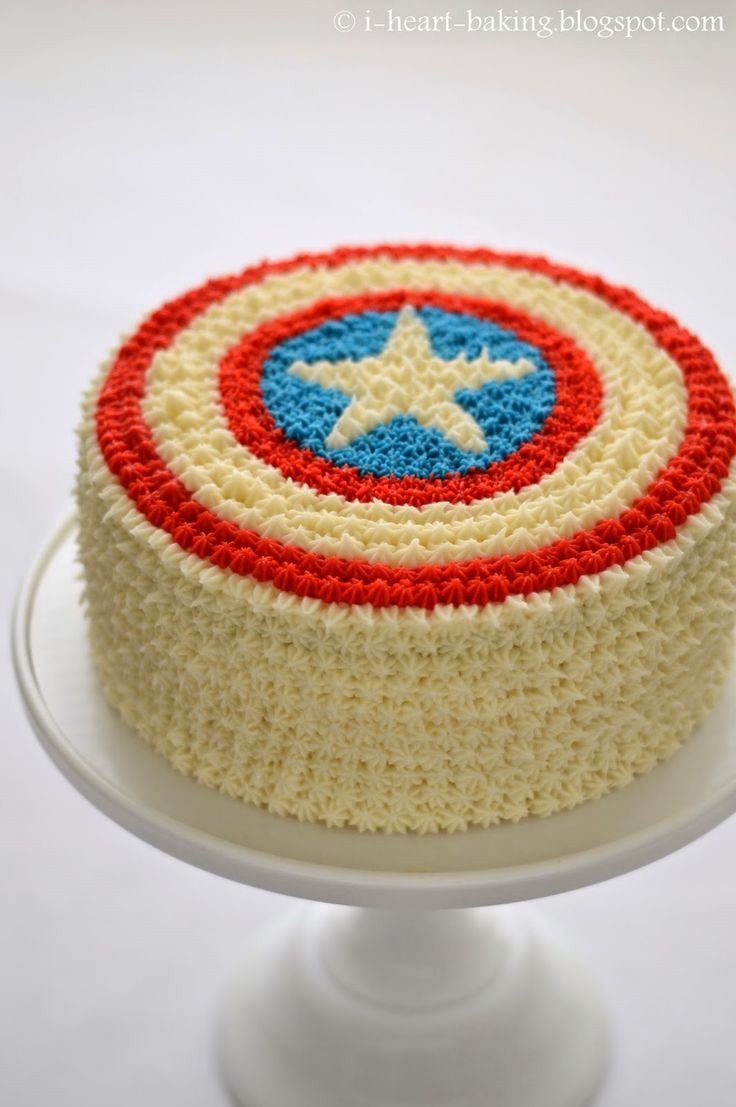 i heart baking!: captain america cake with flag inside and haupia coconut filling