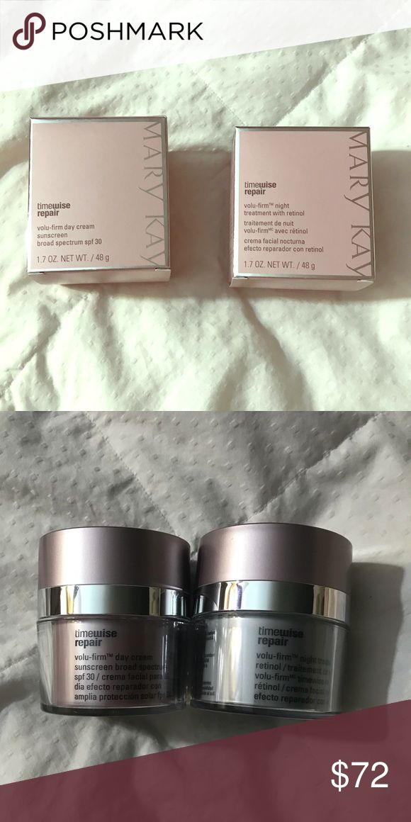 Mary Timewise Repair day and night cream Mary Kay Timewise Repair Volum-firm Day and Night cream.  Brand new in the box. I bought two sets not realizing how long the first one would last me. Retail for over $50 each. Mary Kay Makeup