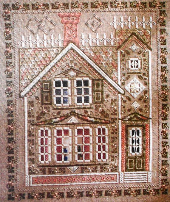Patricia Andrle: VICTORIAN HOUSE 3-D Layered Picture - Counted Cross Stitch (wow)