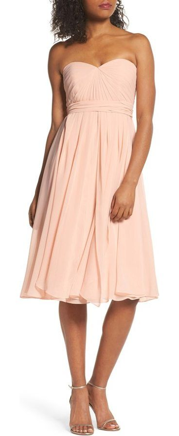 emmie convertible chiffon tea-length dress by Jenny Yoo. A tea-length dress makes a romantic statement in flowy chiffon with a pleated sweetheart bodice and a flirty full skirt. Four panels attached at the waist can be wrapped and tied to create a variety of different looks. Style Name: Jenny ... #jennyyoo #dresses
