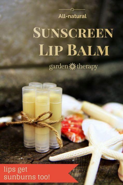 Make this SUNSCREEN LIP BALM! all natural lip balm for sun protection DIY