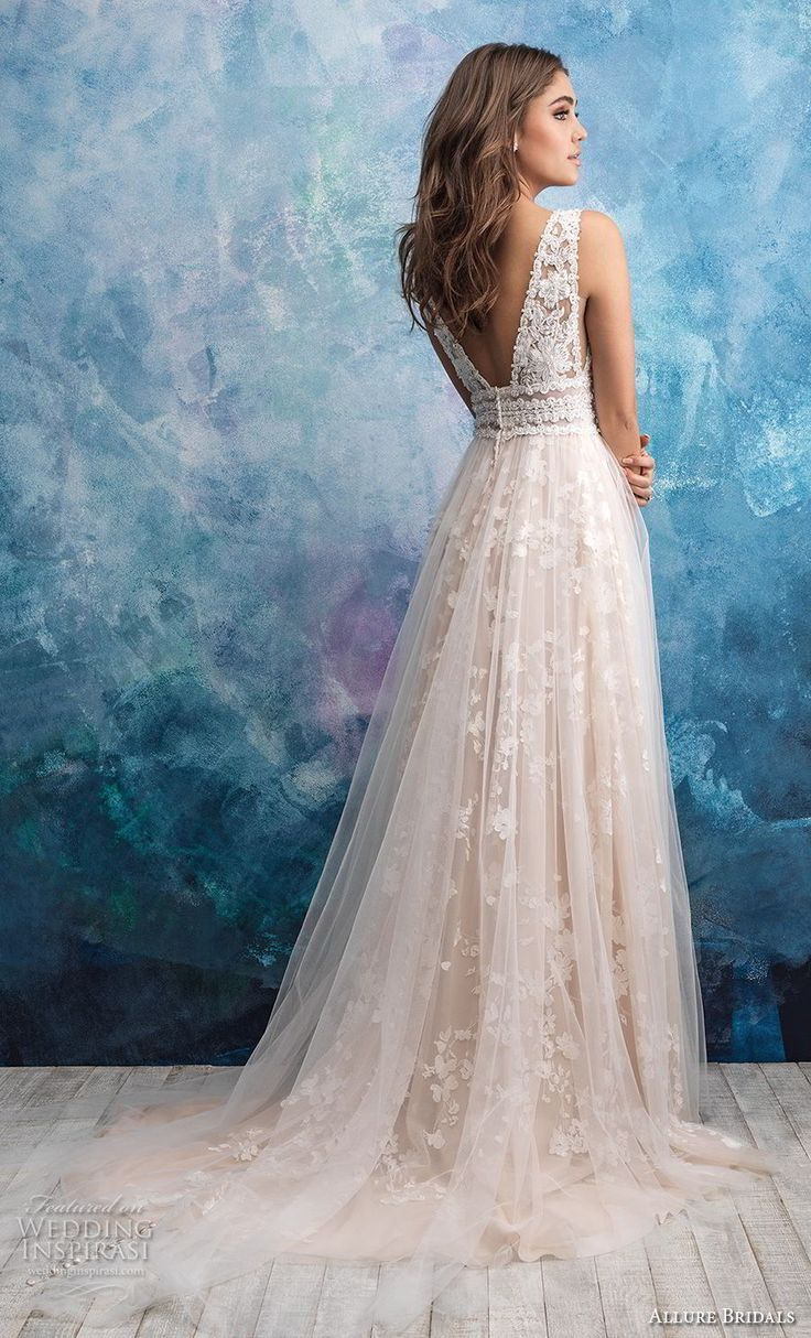 allure bridals fall 2018 bridal sleeveless deep v neck heavily embellished bodic… #allure #bodic #bridal #bridals #embellished #heavily #sleeveless