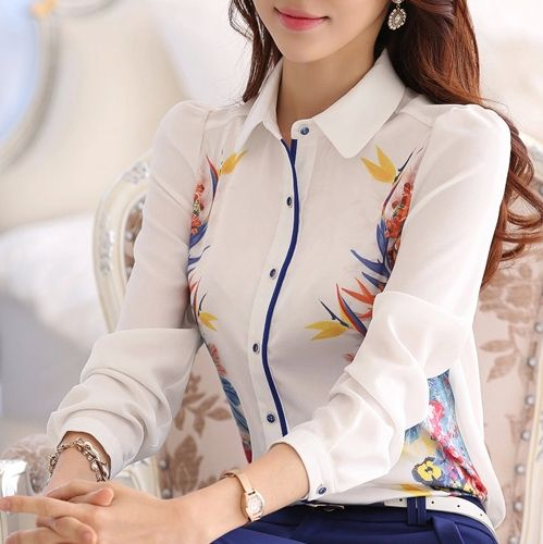£: Good quality Brand new 2015 Spring Summer Women Floral print shirt blouses, plus size maxi white chiffon tops