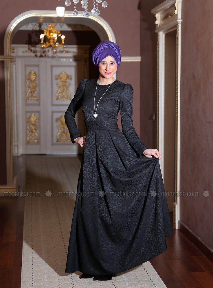 Alya Siyah Brokar - Elbise - Kübra Biriktir