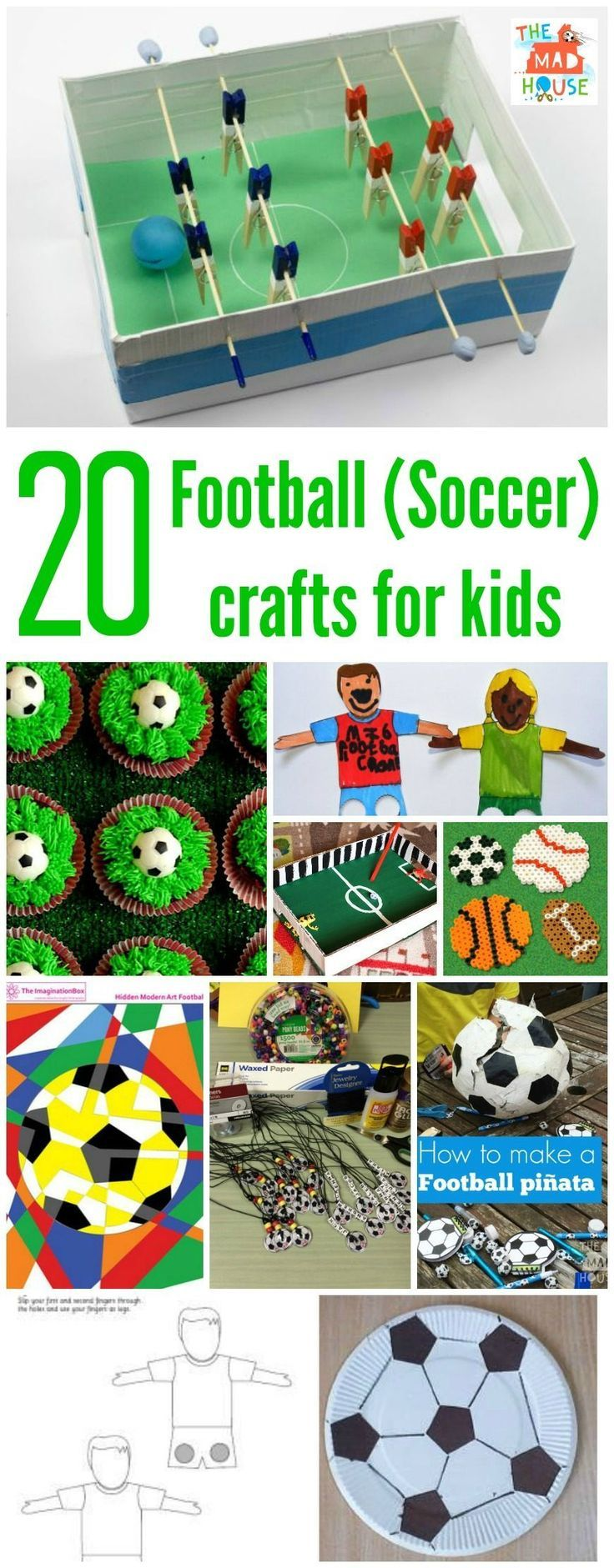 Over 20 fab football crafts or soccer crafts for kids.  Celebrate the beautiful game with these fun and easy to prepare crafts and activities for children.  Lots of crafts, activities and education games all with a soccer or football theme.  Get your DIY