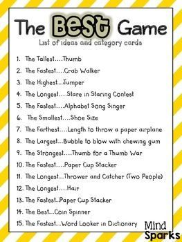 The Best Game A Team Building Activity Crafts And Such One Day