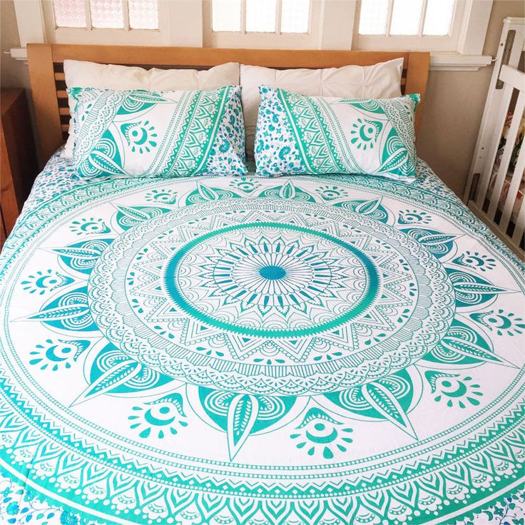 Sea Green & White Ombre Mandala Tapastry Duvet and Pillow Cover Set