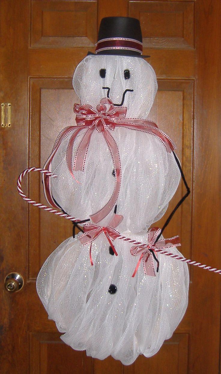 deco mesh snowmanChristmas Crafts, Decomesh, Doors Decor, Mesh Snowman, Decor Mesh, Deco Mesh Wreaths, Christmas Decor, Holiday Decor, Christmas Ideas