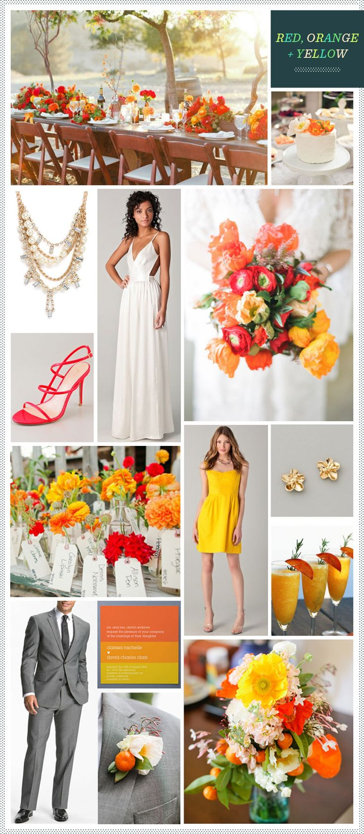 Red, Orange + Yellow wedding inspiration - sum but not all of this works