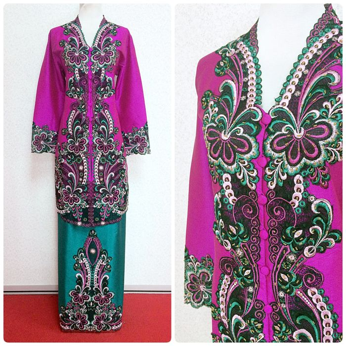 """Kebaya Zinnia in beautiful magenta and green colour is available in L size (bust 38""""). Shop now at www.empireofelegance.com.my"""