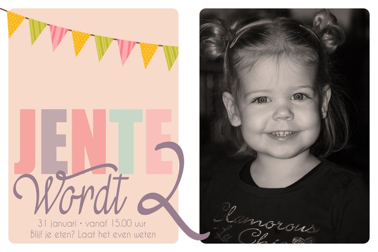 Verjaardagskaart voor Jente. Ontwerp voor uitnodiging 15 x 10 cm.