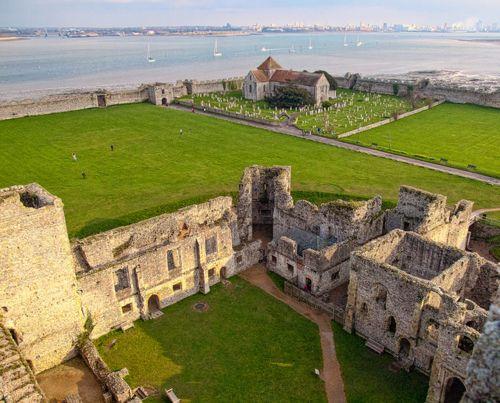 Porchester Castle and Portsmouth Harbour, Hampshire, England