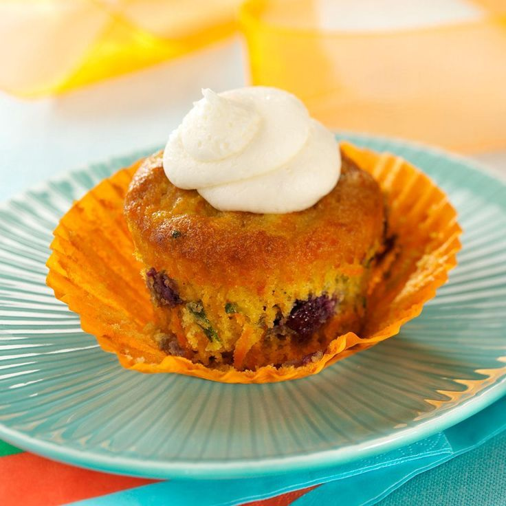 Carrot Blueberry Cupcakes Recipe from Taste of Home