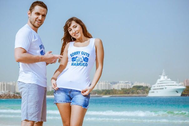 "Pre Wedding photo shoot - Tshirt "" Sorry guys this girl s getting married """
