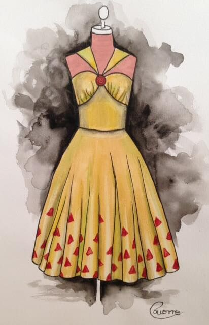 A quite simple style 1950s dress in a muted tone of gold with a red print. Finished off with a red brooch for embellishment. Watercolour painting by Collette Fergus