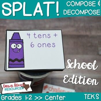 SPLAT! is an interactive math center where students can practice how to compose and decompose whole numbers up to 120. First grade students will practice and apply this skill through this engaging and purposeful game. It would make a fun review game for