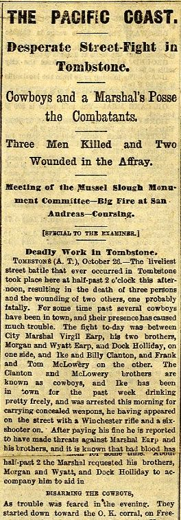 """News account of the gunfight at the OK corral in Tombstone, AZ, October 27, 1881, from The Daily Examiner, San Francisco. """"Desperate Street-Fight in Tombstone""""."""