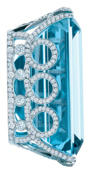 Pendant for a necklace with a large emerald-cut aquamarine, diamonds and platinum. From The Great Gatsby collection by Tiffany & Co., inspired by Baz Luhrmann's film in collaboration with Catherine Martin.  Via The Jewellery Editor.