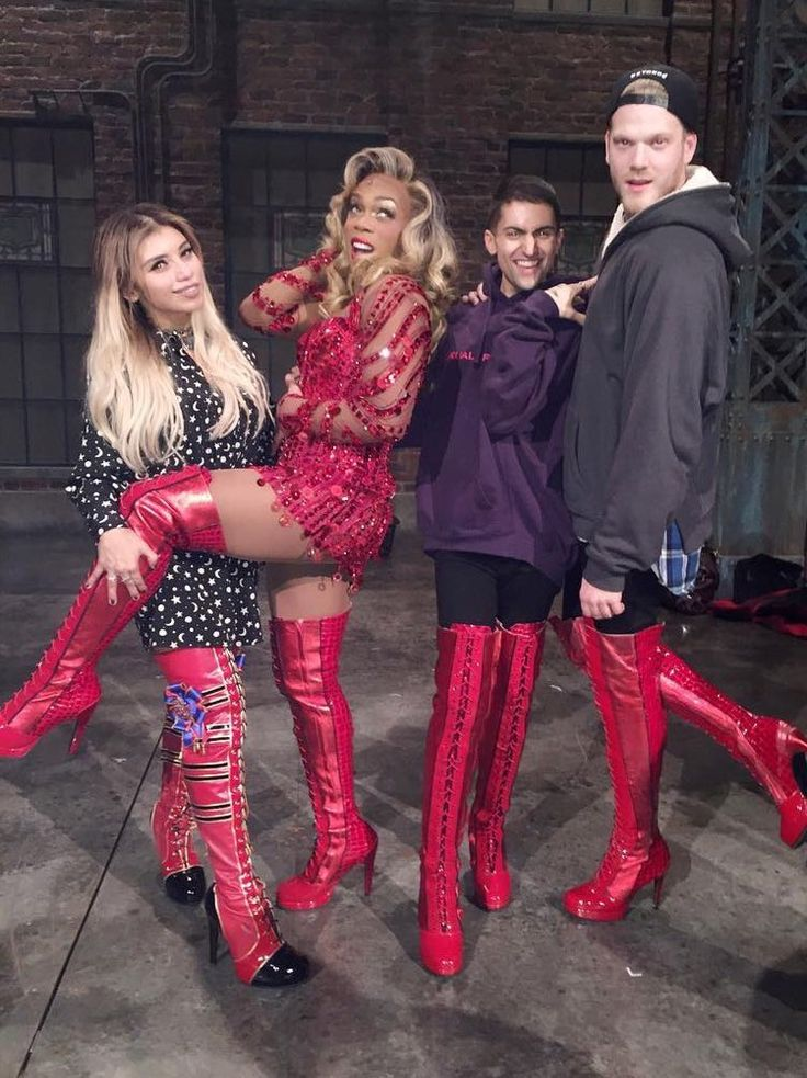 Kirstie, Todrick, Mitch and Scott after Kinky Boots