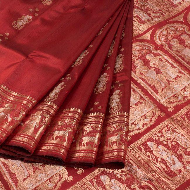 Handwoven Red Swarnachari Fine Silk & Fine Zari Saree With Dancing Doll Motifs 10015963 - AVISHYA.COM