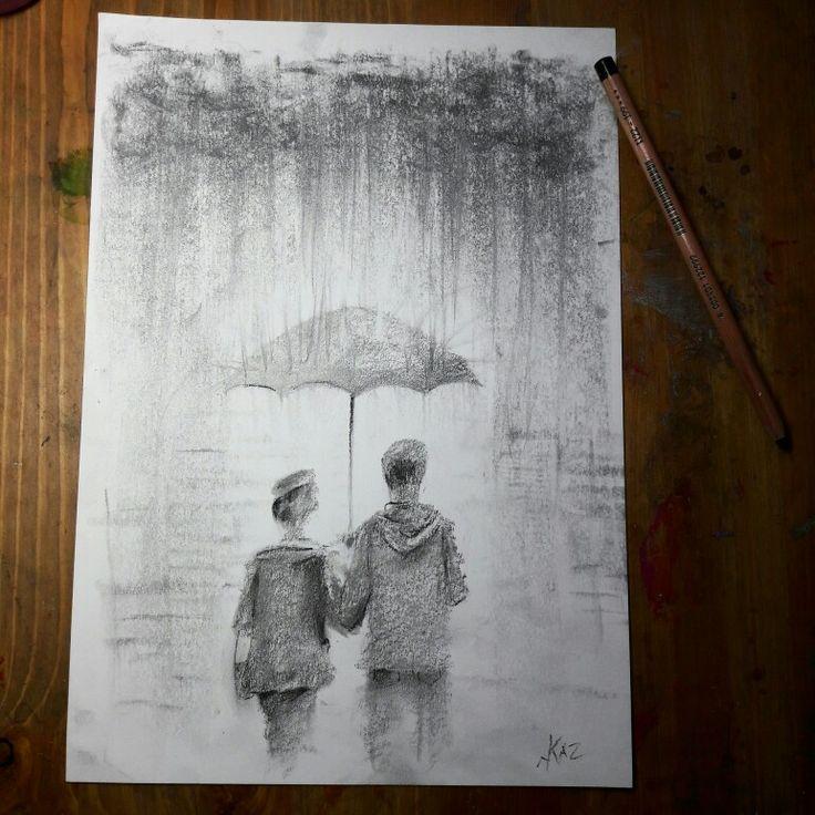 Rain. 20*30 #pensil #rain #two