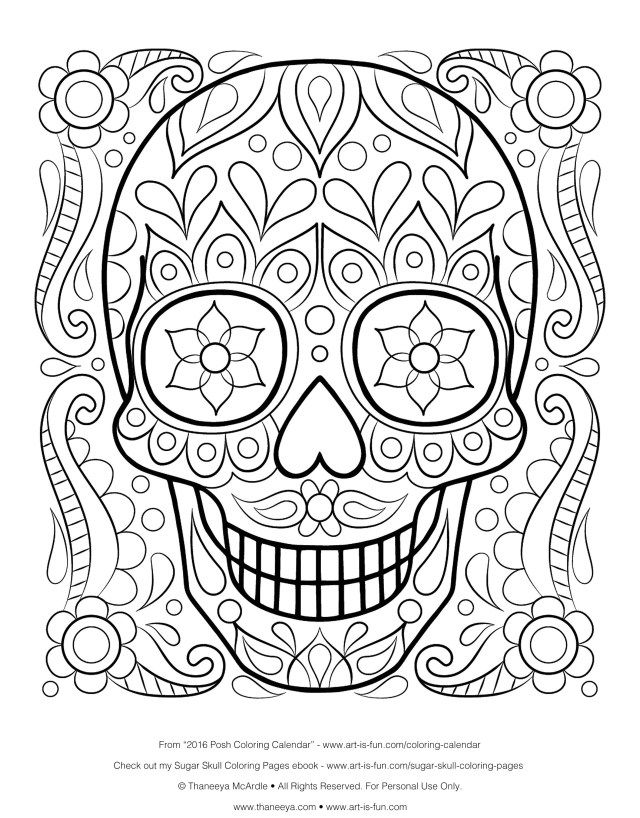 Free Printable Skull Coloring Pages For Kids | Skull coloring ... | 818x640